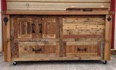 Reclaimed or Barnwood Bar Carts, Cooler Console Tables, Media Storage Cabinets, Buffets, Sideboards, Kitchen Islands - Custom designs by RusticWoodWorx on Etsy https://www.etsy.com/listing/248143877/reclaimed-or-barnwood-bar-carts-cooler