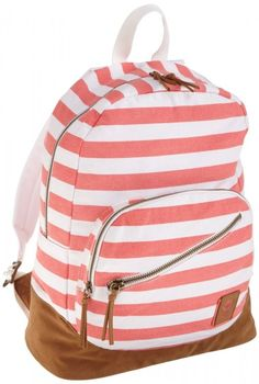 Beautiful pink striped backpack for women!! It is also made of cotton and it's fashionable and functional!