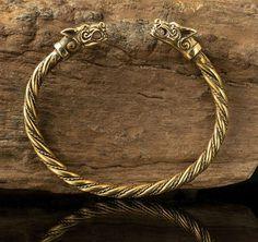 FENRIR Viking Wolf Bracelet brass Plaited by WulflundJewelry