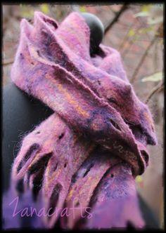 Cobweb Felted Scarf - Pink - Purple - Yellow -  Handmade. OOAK - Warm and Wispy - Great Birthday Gift