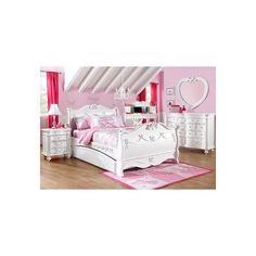 Disney Princess White 5 Pc Twin Sleigh Bedroom :: Rooms To Go Kids - Kids Bedroom Sets found on Polyvore