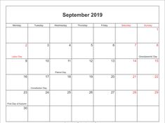 Blank 2020 Calendar Printable PDF Word Page Excel Templates & Holidays - 2018 Calendar Template, Holiday Calendar, Calendar Printable, First Day Of Autumn, Constitution Day, Patriots Day, Grandparents Day, September, Templates