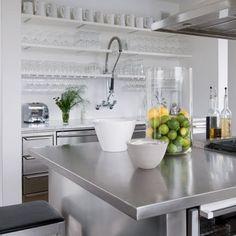 white industrial kitchen with stainless steel island bench top Kitchen Styling, Kitchen Dining, Kitchen Remodel, Commercial Style Kitchen, Kitchen Images, Modern Kitchen, Home Kitchens, Studio Kitchen, Kitchen Inspirations