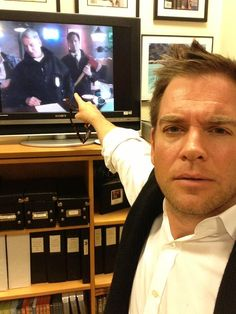 Michael Weatherly watching NCIS.
