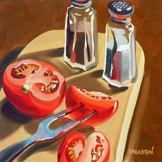 """Tomato Salt and Pepper"" by Leigh-Anne Eagerton Fruit Painting, Gouache Painting, Diy Painting, Garden Painting, Painting Inspiration, Art Inspo, Food Illustrations, Illustration Art, Afrique Art"