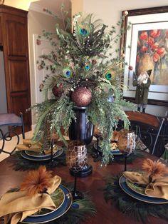 Peacock Tablescape Christmas