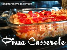 This delicious pizza casserole can be customized to your family's tastes, and can be made using FOOD STORAGE.  Win win.