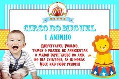Convite digital personalizado Circo com foto 001