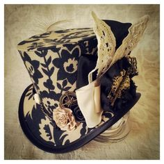 Mad Hatter, Alice in Wonderland, Steampunk Hat, Mini Top Hat, Tea... ❤ liked on Polyvore featuring accessories, hats, steampunk costume, vintage circus costumes, circus costumes, womens mad hatter costume and alice costume