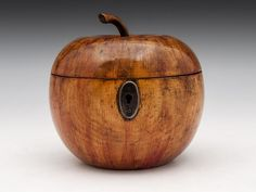 Apple Tea Caddy (c. 1800 Germany) // Apple tea Caddy with wonderful red blushing and realistic stalk, has steel lock and escutcheon and has a wonderful patination.   The apple tea caddy still has traces of tin lining, comes with a fully working lock and tasselled key. // Price GBP 4350.00 (Pound Sterling) //  - Maria Elena Garcia -  ► www.pinterest.com/megardel/ ◀︎