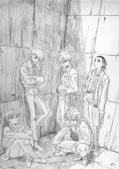 Gundam Wing ~~ Fanart sketch of the G-Boys.