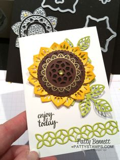 I am sure you have seen all the fun ideas I've been sharing with you featuring the new Stampin' Up! Eastern Palace Suite of products!! I think this Sunflower card is REALLY fun and I know you enjoy