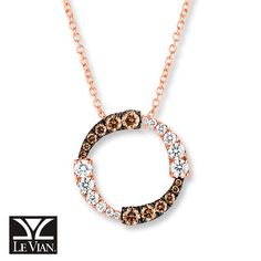 Sweet circle pendant necklace featuring 1 carat t.w. diamonds: Chocolate Diamonds® and Vanilla Diamonds® in Strawberry Gold®.