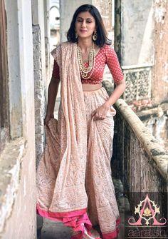 Aaraish Pure Ggt beige Mukaish Anarkali Chikan Lehenga -3 piece set