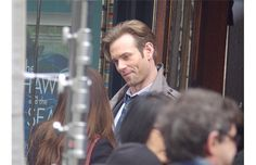 Actor Eric Johnson (Jack Hyde) talks to Dakota Johnson while filming Fifty Shades Darker in Vancouver on Wednesday.