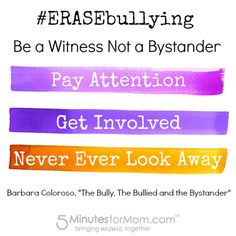 The key to stopping bullying is changing bystanders into witnesses who stand up for the bullied target. Find out more at   http://www.5minutesformom.com/bullying/