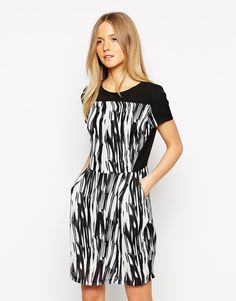 Style London Dress in Brushstroke Print
