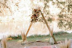 Triangle Arch P. Ceremony Arch, Texas Hill Country, Tree Lighting, Twinkle Lights, Wedding Styles, Wedding Ideas, Boho Wedding, Ladder Decor, Wedding Venues