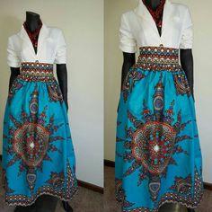 African print ladies high waist maxi skirt by Julianaoklothings