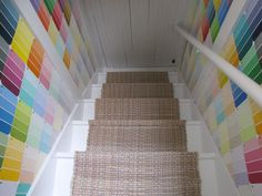 Cozy Little Cave: Psychedelic Stair Renovation!  would love to do this to our basement stairs!