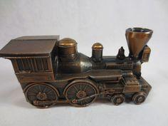 Vintage 1974 Brass, Copper STEAM LOCOMOTIVE TRAIN ENGINE Banthrico Coin Bank #Banthrico