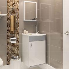 Compre Gabinete para Banheiro com Pia e Espelho Anion 100% MDF Branco/Cinza - Casabras em Promoção com ✓ Até 12x ✓ Fretinho