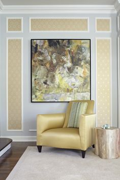 Judi Mills-Grossman Gives Modern Flair to Her Classic Home: Moldings set off Romo's Tamino wallpaper; its sheen is picked up in the satin club chair. The painting is by Shizhong Yan. Classic House, Club Chairs, Living Spaces, Accent Chairs, Home And Garden, Tapestry, Wallpaper, Interior, Modern