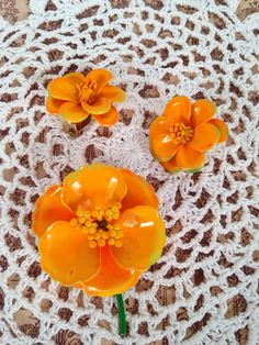 Estate Sale 1960's Vintage Enamel Floral Brooch & Earring Set in Tangerine Orange