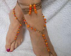 Barefoot Beach sandalias boda Yoga zapatos pie joyería naranja de ganchillo