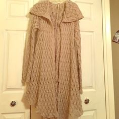 Free People Knit Hooded Jacket/Sweater Great Free People knit sweater with a hood. Super cute for fall or winter. Free People Jackets & Coats