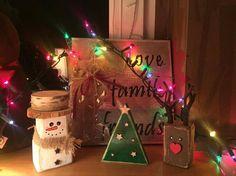 Reindeer snowman christmas tree wood wooden block renifer choinka bałwan z drewna kostki bloki