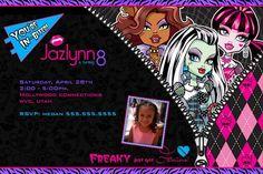 Monster High Invitation – Printable Monster High Birthday Invitation – with Photo – My WordPress Website Monster High Invitations, Movie Party Invitations, Dinosaur Party Invitations, Free Invitation Cards, Free Birthday Invitation Templates, Invites, Monster High Birthday, Monster High Party, Minecraft Birthday Invitations