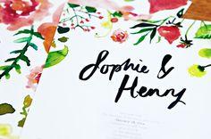 Wedding Invitation Ideas: Custom Watercolor Vibrant Garden Party Wedding Invitations by Santiago Sunbird via Oh So Beautiful Paper