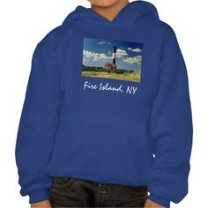FIRE ISLAND LIGHTHOUSE KIDS' HOODIE SWEATSHIRT, by The Flying Pig Gallery on Zazzle (lizadeyphoto) - Bright hoodie features a view of the iconic Fire Island Lighthouse on a sunny day. The Fire Island Lighthouse is located on the western end of this barrier Island, off of the south shore of Long Island.