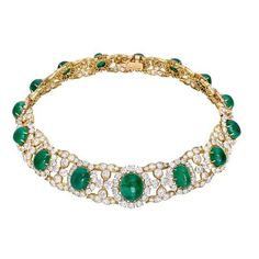 Estate M. Gérard Emerald Diamond Collar Necklace ❤ liked on Polyvore featuring jewelry, necklaces, circle necklace, cabochon fine jewelry, 18 karat gold necklace, formal jewelry and american jewelry