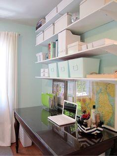 organized office bookshelves