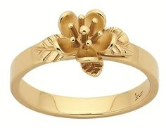 9ct yellow gold Karen Walker single flower ring. $769