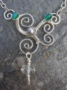 Wire Wrapped Pendant Green Czech Glass Crystal and Fresh Water Pearl