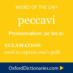 """peccavi (archaeic) ~ """"I have sinned"""". To be used as a prayer or a confession or a mea culpa. It's a great word; I'm bringing it back."""