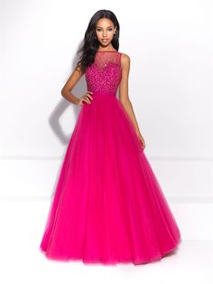 Madison James Prom style 17-298. Color Fuchsia with bead work done on top. Available at Bridal Collections Spokane, WA