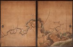 Japanese Screen – Plum Tree in Snow Pair of Fusuma panels (sliding doors) with plum tree in snow design.  Rimpa School, c. 1800. Mineral pigments on mulberry paper.  Each panel  67″ h x 51 3/4″ w.