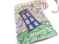 Doctor Who Inspired TARDIS Bag, Small Canvas Police Box Purse, Starry Night Swirls.