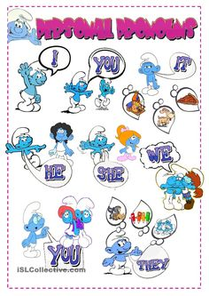 Personal Pronouns Poster with the Smurfs