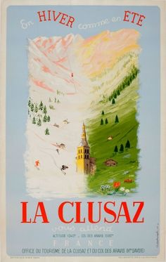 La Clusaz France 1947 - original vintage travel advertising poster by A Sedrowski listed on AntikBar.co.uk