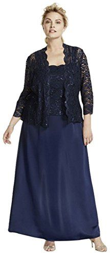Plus Size Long Satin Mother of BrideGroom Dress with 34 Lace Sleeved Jacket * Continue to the product at the image link.