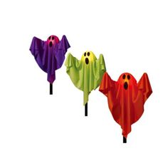Set Of Ghosts Halloween Lawn Stakes Fabric Outdoor Pathway Lights Decoration New #Unbranded
