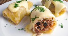 lahanodolmades - greek traditional recipe for stuffed cabbage rolls Cabbage Rolls Recipe, Cabbage Recipes, Lemon Dill Sauce, Greek Sweets, Food Porn, Greek Cooking, Greek Dishes, Mediterranean Recipes, Greek Recipes
