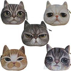 Children Cute Cat Face Zipper Case Coin Kids Purse Wallet Makeup Bag Pouch BHCU