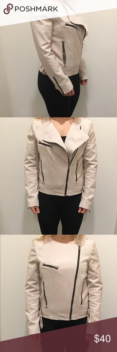 """Calvin Klein Leather Jacket Barely used beige leather jacket, size medium. I'm 5'4"""" and the jacket is the perfect length sitting just at my tailbone. Sleeves are a little long for my liking as you can see in the picture that's why I never end up wearing it even though I love the style! Calvin Klein Jackets & Coats"""