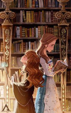 Hermione and Belle - Lost in a Book by Apolar